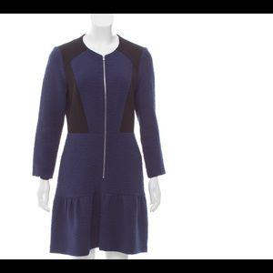 Sandro Color Block Long Sleeve ZIP Dress